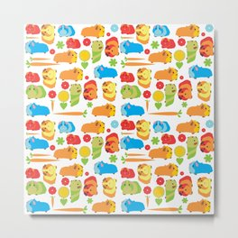 Bright Guinea Pig Vegetable Patch Metal Print