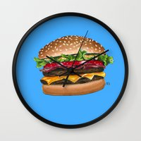 junk food Wall Clocks featuring junk food - burger by Bleachydrew