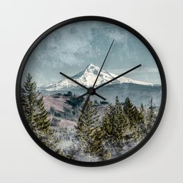 Frosty Mountain - Nature Photography Wall Clock