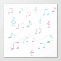 music notes Canvas Prints featuring Music Notes by Hawkingjay
