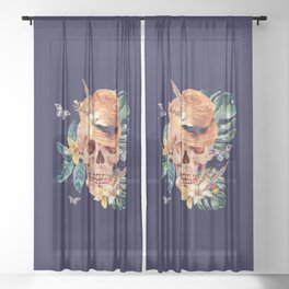 Tropical Latin Skull With Straw Hat Monstera Leaves South American Floral Kingdom Sheer Curtain
