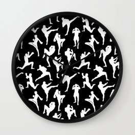Muay Thai Fighters // Black Wall Clock