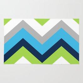 Chevron Pattern Navy Blue Green Gray Rug