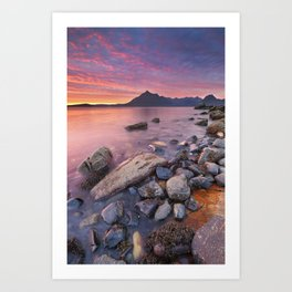 I - Spectacular sunset at the Elgol beach, Isle of Skye, Scotland Art Print