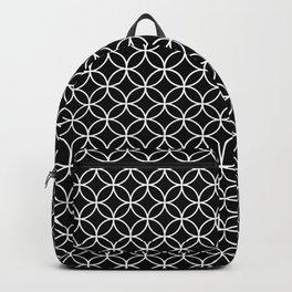Interlinking Circles Pattern White on Black Backpack