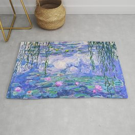 Claude Monet Water Lilies French Impressionist Art Rug