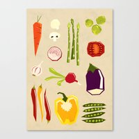 vegetables Canvas Prints featuring Vegetables by Yetiland