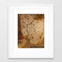 westeros Framed Art Prints featuring Fantasy Map of New York: Gritty Parchment by Midgard Maps