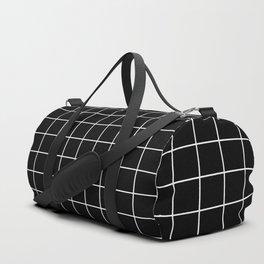 Square Grid Black Duffle Bag