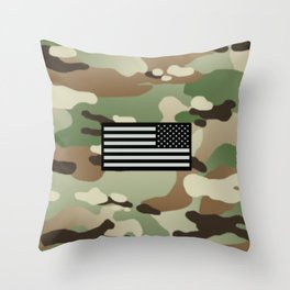 Woodland Camouflage & Black Flag Throw Pillow