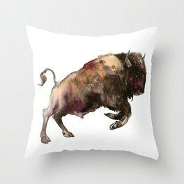 Bison, Bull, animal woodland, bison art, wildlife design Throw Pillow