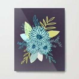Winter Flowers in Peacock Metal Print