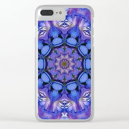 Summer sky Delphinium mandala Clear iPhone Case