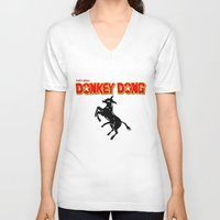 donkey V-neck T-shirts featuring Donkey Dong by Metscha
