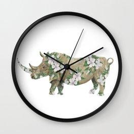 floral rhinoceros Wall Clock