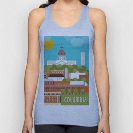 Columbia, South Carolina - Skyline Illustration by Loose Petals Unisex Tank Top
