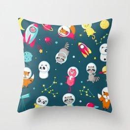 cute space animals Throw Pillow