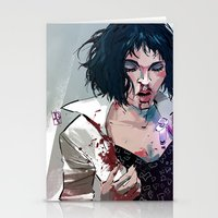 mia wallace Stationery Cards featuring Mia Wallace by Azahara Blue