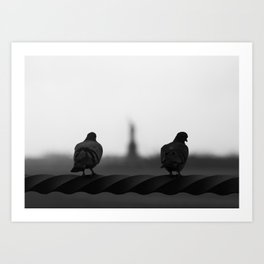 New York Liberty Pigeons Art Print