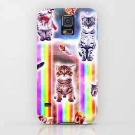Outer Space Galaxy Cats With Rainbow iPhone Case