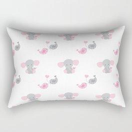 Pink Elephant Chickadee Bird Heart Rectangular Pillow