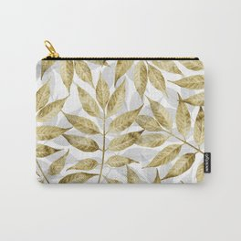 Modern gold autumn leaves design Carry-All Pouch