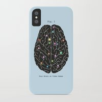 games iPhone & iPod Cases featuring Your Brain On Video Games by Terry Fan