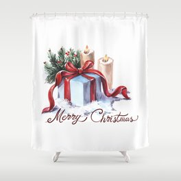 New Year's composition with candles, a gift and spruce branches. Shower Curtain