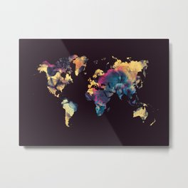 world map 79 yellow black Metal Print