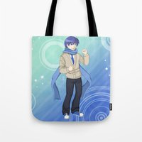 vocaloid Tote Bags featuring Kaito - VOCALOID Gakuen by Tenki Incorporated
