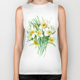 White Daffodils, spring flowers yellow green spring floral design Biker Tank