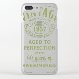 Green-Vintage-Limited-1957-Edition---60th-Birthday-Gift Clear iPhone Case