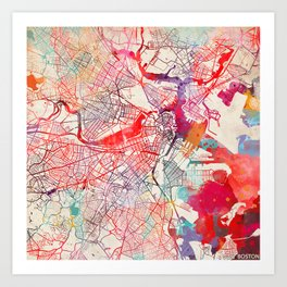 Boston map Massachusetts painting square Art Print