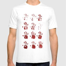red hands SMALL White Mens Fitted Tee