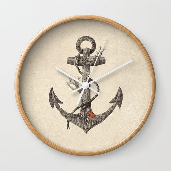 Lost at Sea - mono Wall Clock