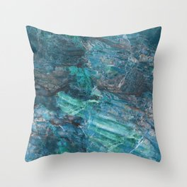 Azzurro Marble, Teal, Aqua, Blue Throw Pillow