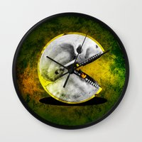 pacman Wall Clocks featuring Skull Pacman by Diego Tirigall