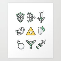 Minimal Essentials of Zelda Art Print
