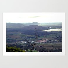 Fields outside Hobart Art Print