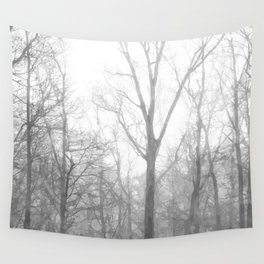 Black and White Forest Illustration Wall Tapestry