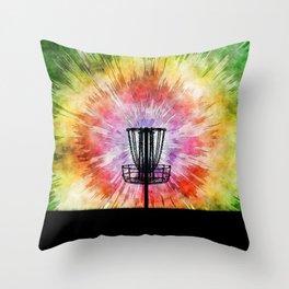 Tie Dye Disc Golf Basket Throw Pillow