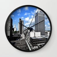memphis Wall Clocks featuring Memphis Blues  by Invert The World