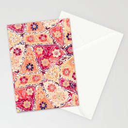 Vintage Patchwork Flower Garden, Red and Cream Floral Sewing Thread Quilt Repeat Pattern Stationery Cards