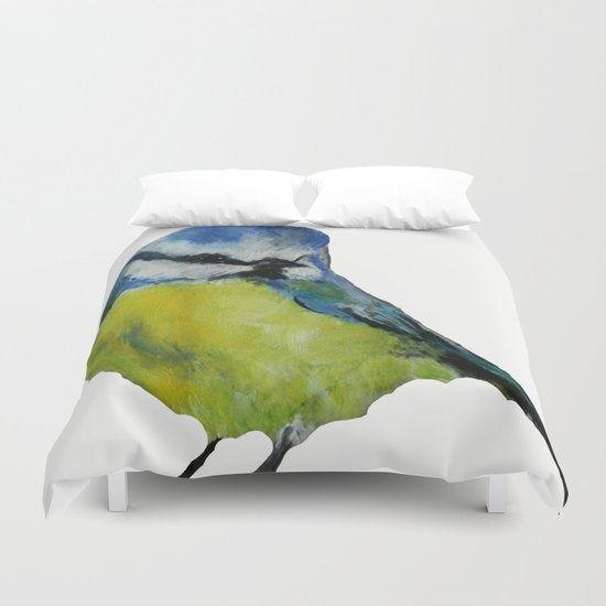 Wild English Garden Bird Blue Tit Contemporary Acrylic Painting White Edit Duvet Cover