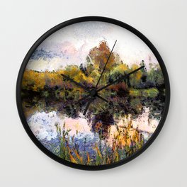 Late Afternoon Reflections on a Lake Wall Clock