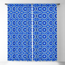 Blue and Yellow Circle Repeating Pattern Blackout Curtain