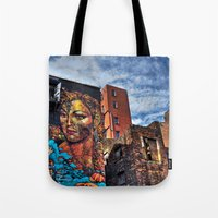 manchester Tote Bags featuring Colourful MANchester by inkedsandra