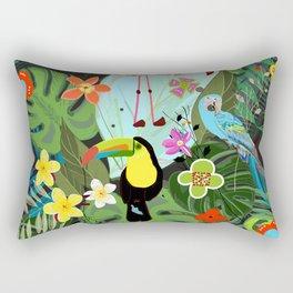 Parrots, Toucan and Flamingo Tropical Birds Tropical Forest Pattern Rectangular Pillow