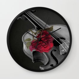 Black White Violin Red Rose Musical Instrument Art A507 Wall Clock