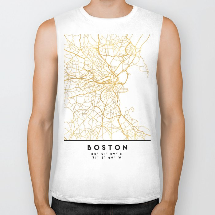 BOSTON MASSACHUSETTS CITY STREET MAP ART Biker Tank